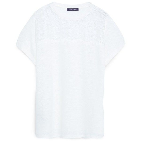 Violeta BY MANGO Blond Linen T-Shirt ($45) ❤ liked on Polyvore featuring tops, t-shirts, linen tops, linen t shirt, short sleeve tee, round top and short sleeve tops