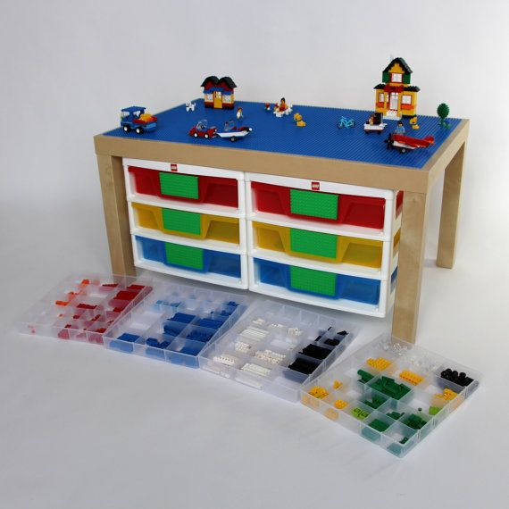 "Large Lego Table - 20"" x 34"" Lego Surface with Lego Organizer ..."