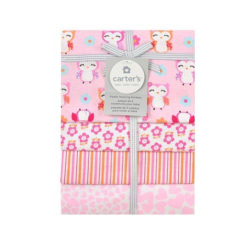 Carter S Girly Owl 4 Pack Flannel Receiving Blanket