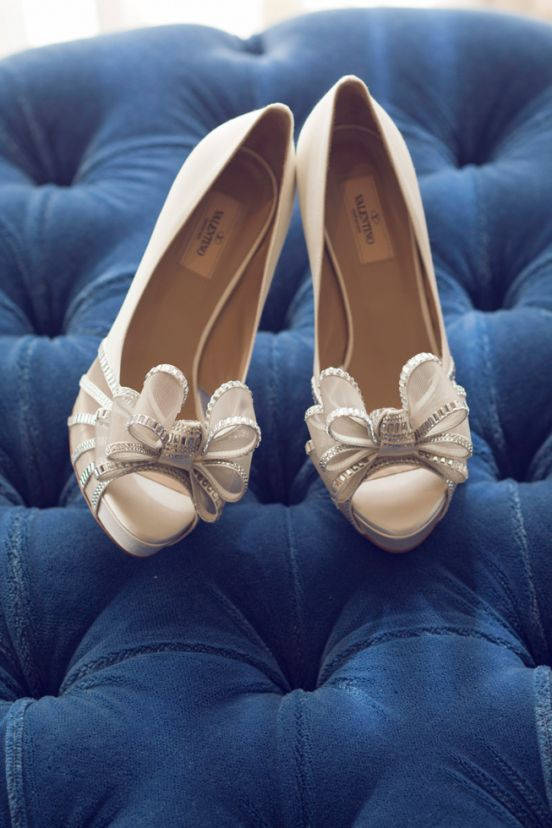 Events Valentino Bridal Shoes White Bow Heels