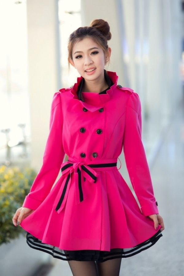 Lady's Petal Standing Collar Double Breasted Trench Coat from Picsity.com