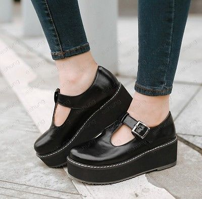 4g Womens High Heel Creeper Platform Buckle T-Strap Casual Mary Jane Pumps  Shoes