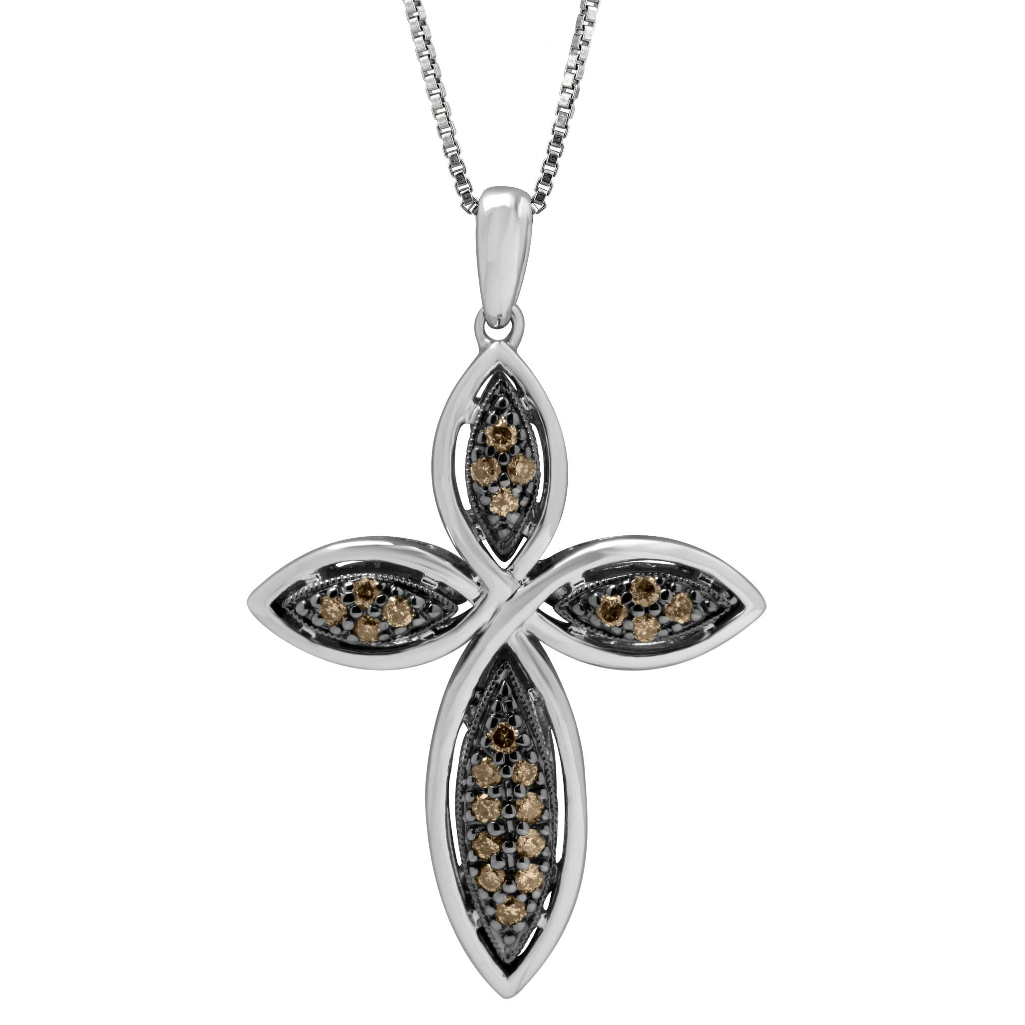 Sterling Silver 1 4ct TDW Brown and White Diamond Cross Pendant