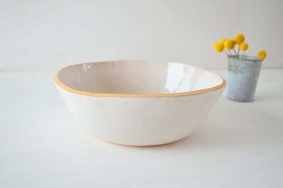 The Ultimate Fruit Bowl. Ceramic Fruit Bowl, Large White Bowl Stoneware Salad by jillzeidler
