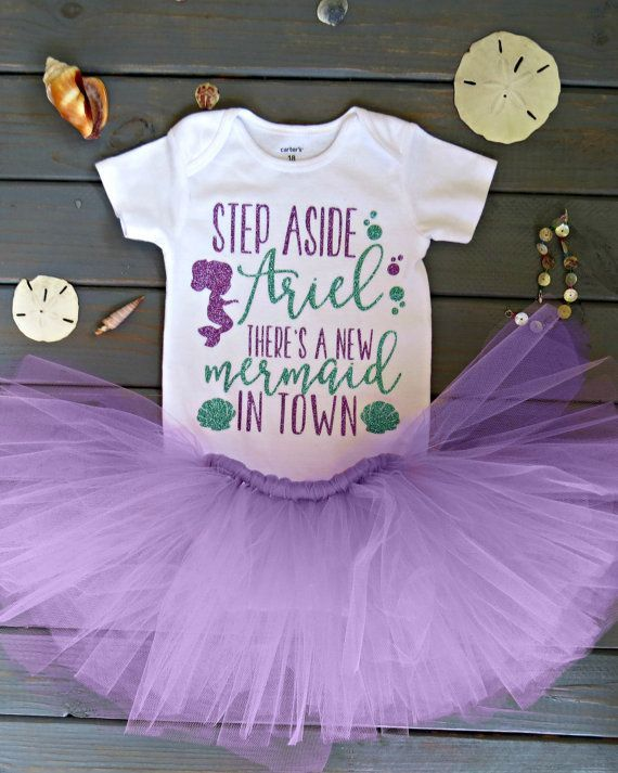 Mermaid Birthday Outfit Baby Girl Birthday by PoppiesnLaceBowtique