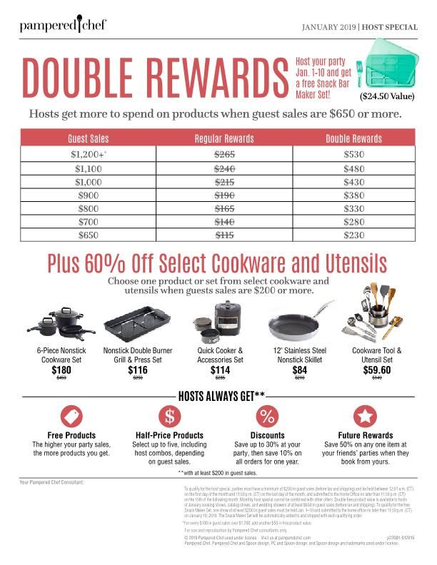 January S Host Reward Host A Party In January And With A Qualifying Party You Can Choose One O Host Rewards Pampered Chef Consultant