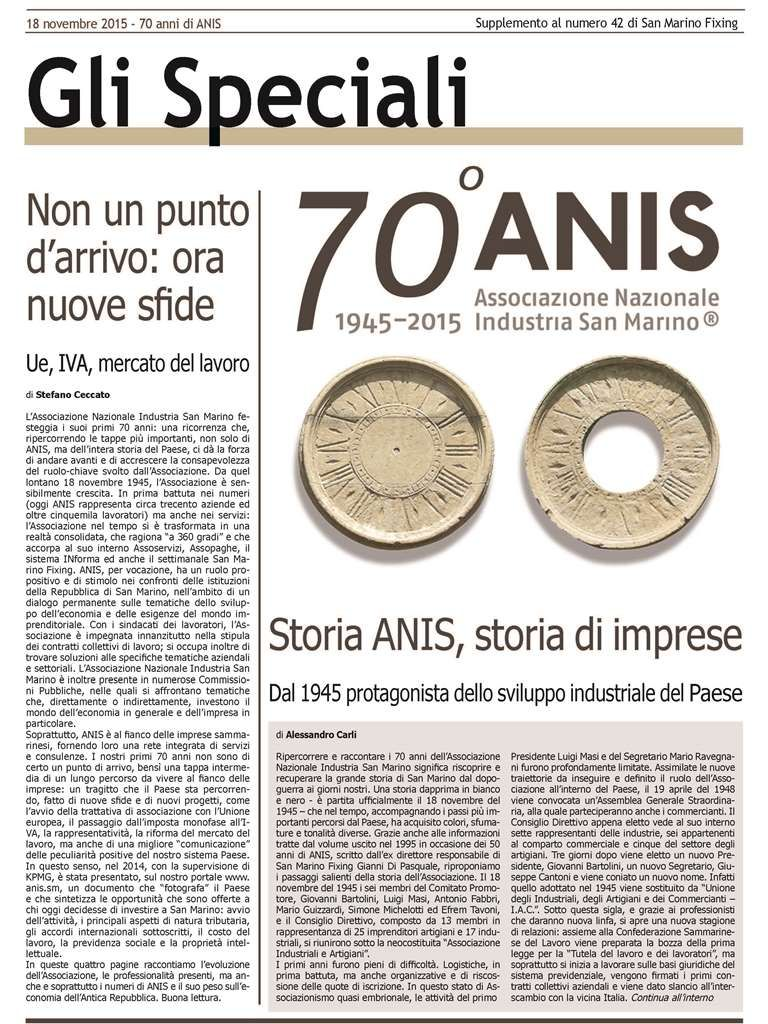 speciale 70 anni ANIS 1