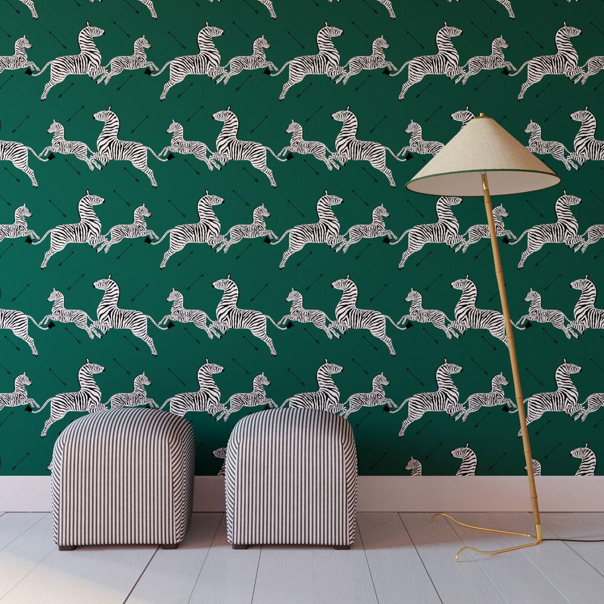 Emerald Zebra Upholstered Custom Peel And Stick Wallpaper Roll Wallpaper Roll Peel And Stick Wallpaper Green Home Decor