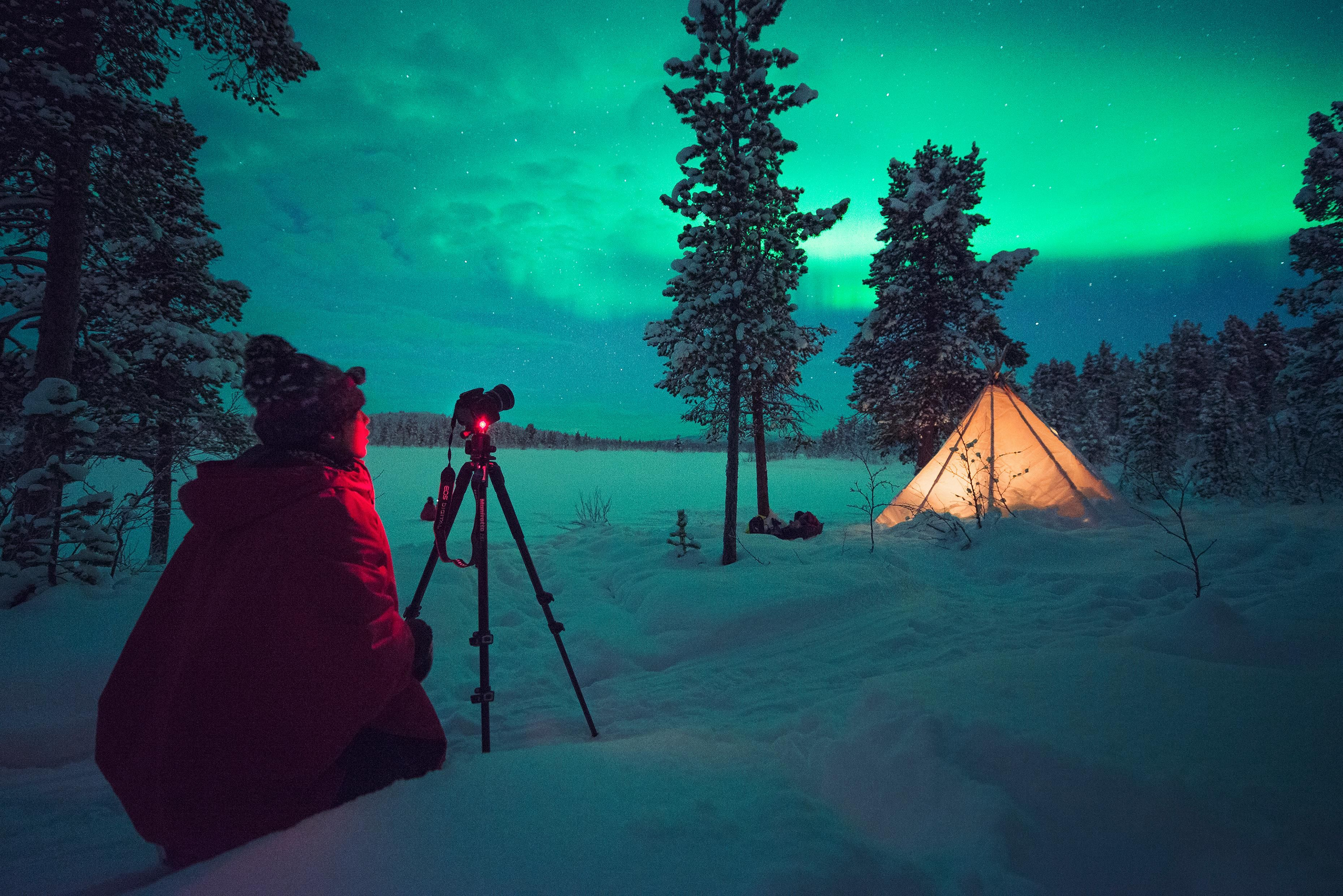Two Sámi women, Ylva Sarri and Anette Niia, run photography tours in Kiruna, in the north of the country. Anette is a photographer and Ylva is a nature and mountain guide – and they know the best spots for auroral shots, and teach the basics of capturing the northern lights.