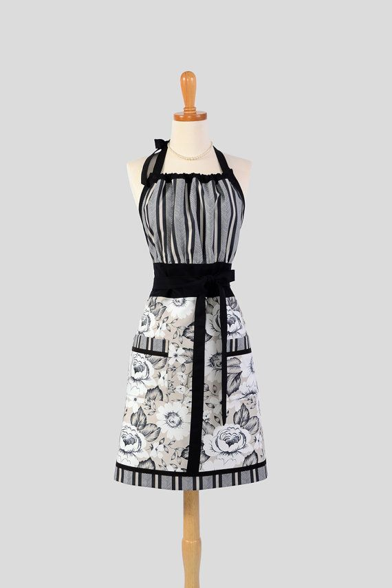 Cute Kitsch Retro Apron / Handmade Full Womens Kitchen Apron in Chef Styling features Dear Stella Fabric Portico