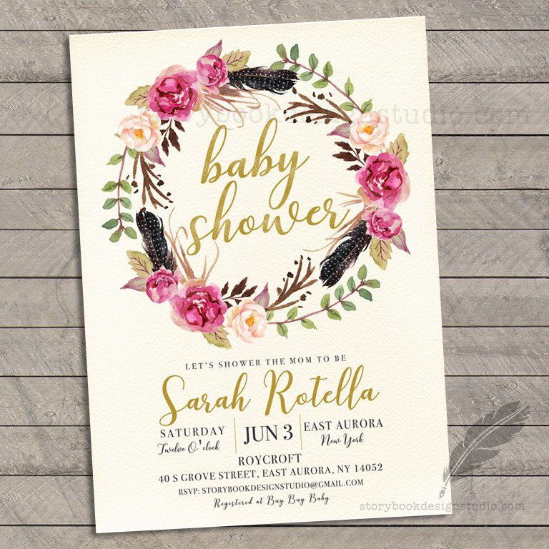 Floral Wreath Baby Shower Invitations | Boho chic Baby Shower ...