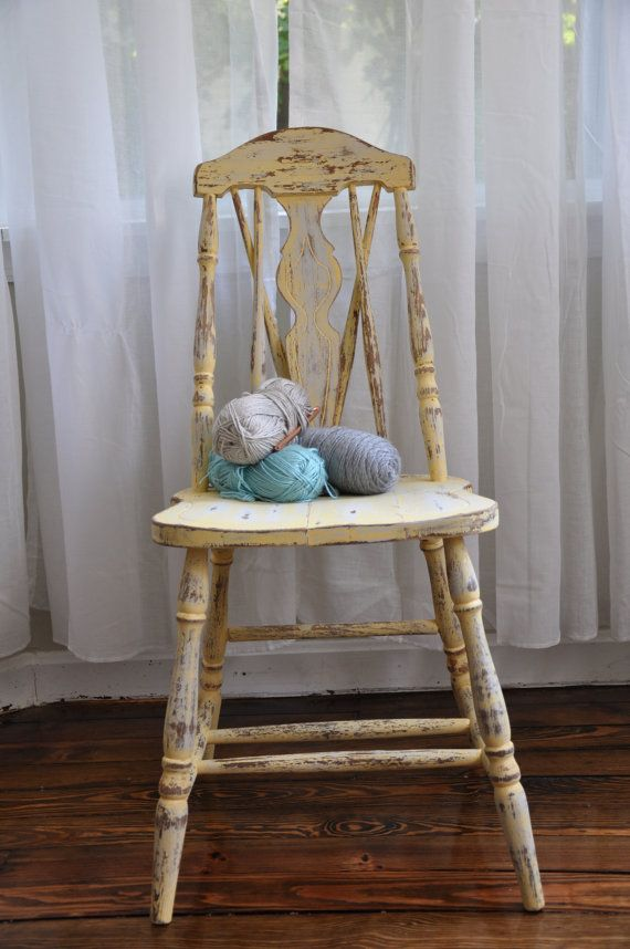 Distressed Vintage Wooden Chair...Hand Painted...Butter Yellow.
