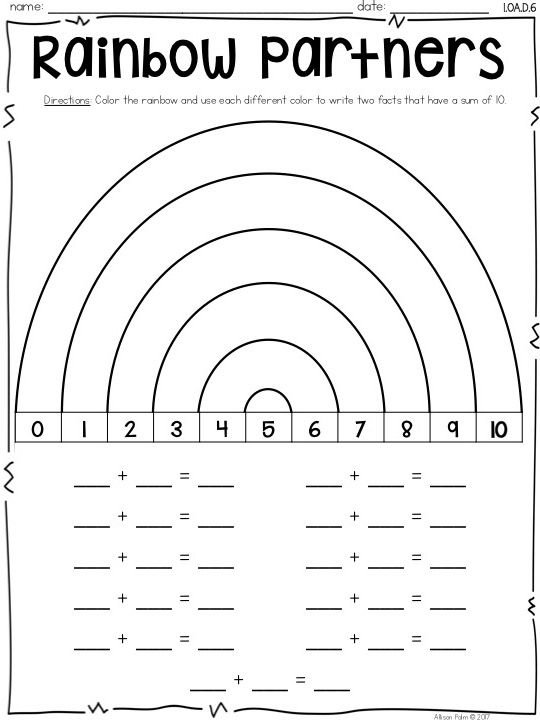 Number Partners for 10 {Common Core Math Resources} | Math, Number ...