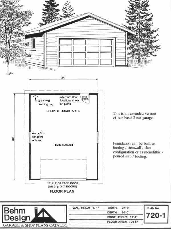 Ready to Use 2 Car Garage Plan with Storage 7201 24 x 30 By – 24 X 30 Garage Plans