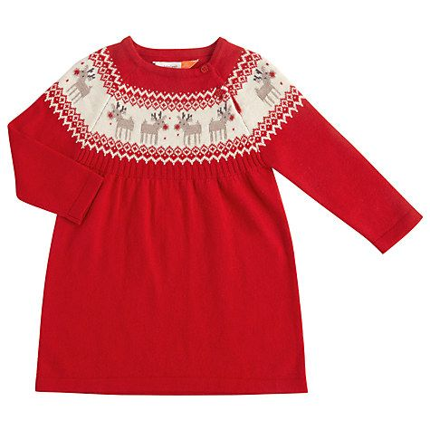 0167f0df4 Buy John Lewis Baby Knitted Reindeer Dress, Red Online at johnlewis.com
