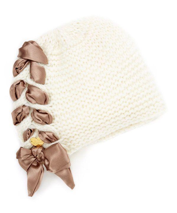 Cejon Cream Ribbon-Braid Beanie on #zulily | Knitted Crowns ...