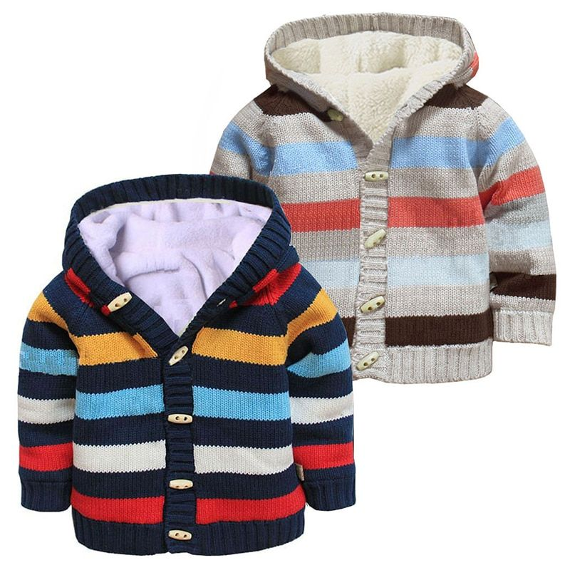 Toddler Baby Boy Girls Striped Sweater Knitted Winter Warm Coat Pocket Outwear P