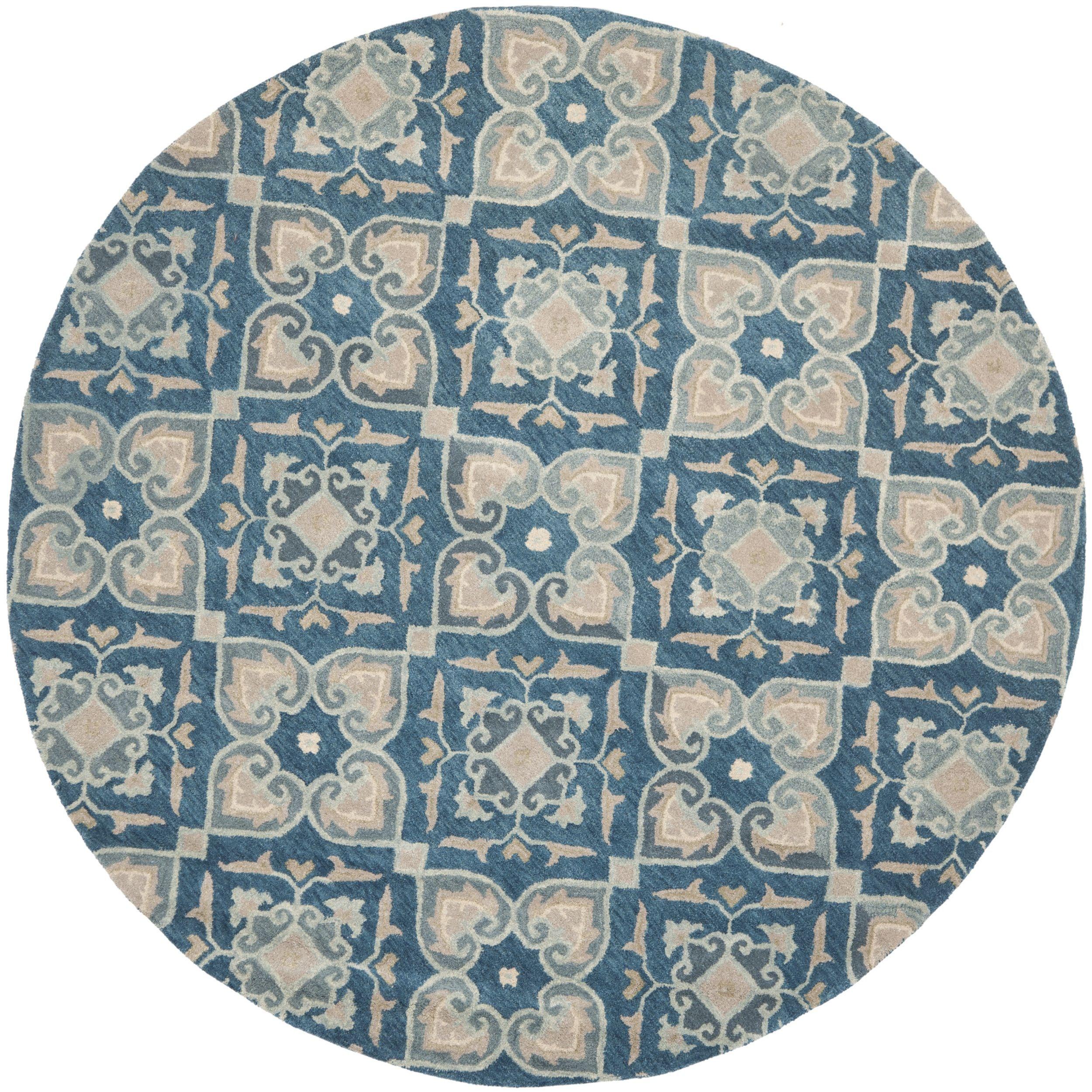 Safavieh Handmade Wyndham Blue New Zealand Wool Rug 7 X Round Ft Size Cotton Geometric