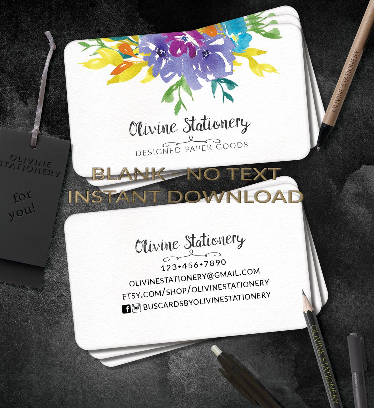 INSTANT DOWNLOAD Business Cards, diy square Blank Business Card ...