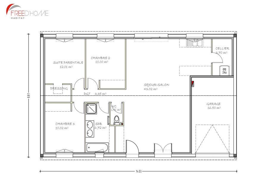 plan maison 90m2 avec garage plan maison pinterest plan maison 90m2 plans maison et garage. Black Bedroom Furniture Sets. Home Design Ideas