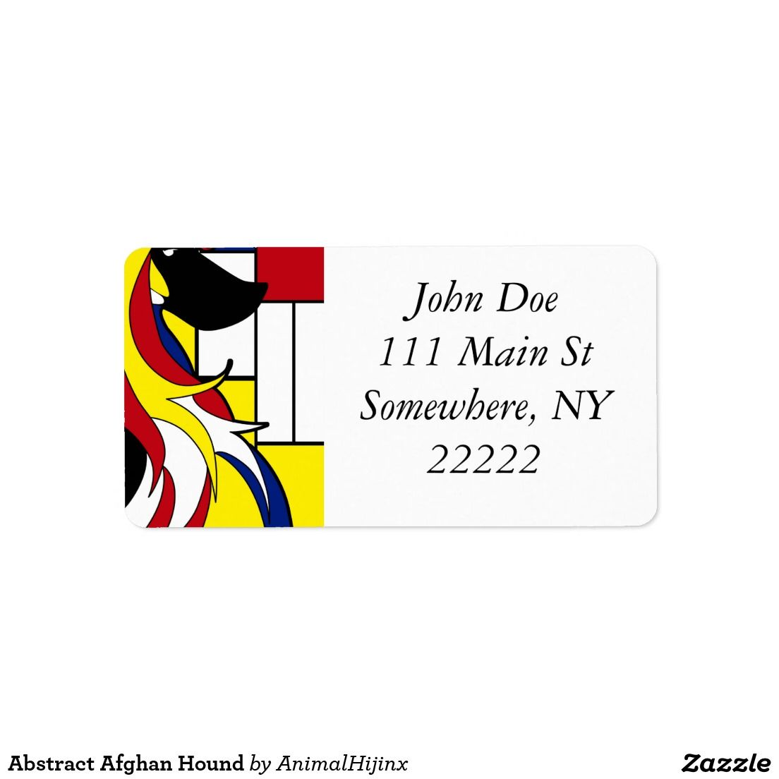 Abstract Afghan Hound Address Labels