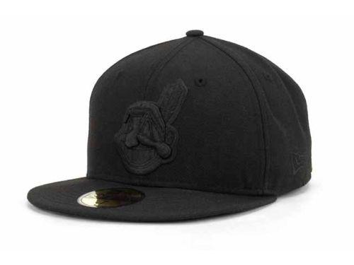 the latest 600c8 ce3b6 Cleveland Indians New Era MLB Black on Black Fashion 59FIFTY Cap Hats