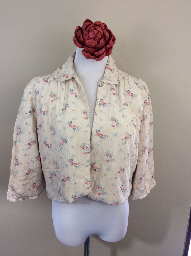 Vintage White Cream Asian Style Quilted Floral Cropped Jacket Glass Button Large #Unbranded #BasicJacket #Casual