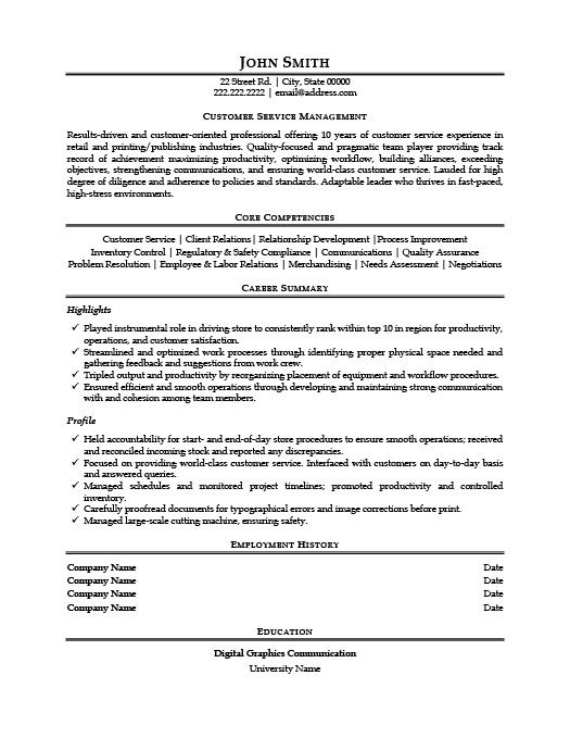 Customer Service Manager Resume Template Premium Resume Samples - resume for service manager