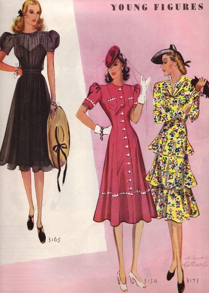 Late 30s War Era To Early 40s Dress Sheer Black Puff