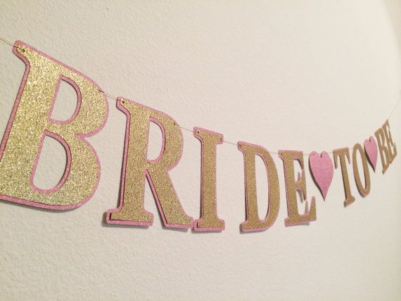 Glitter Bride To Be Banner Bridal Shower Bachelorette Party