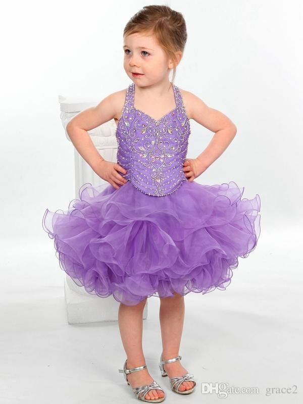 Toddler Cupcake Pageant Dresses 2017 with Beaded Halter Neck and ...