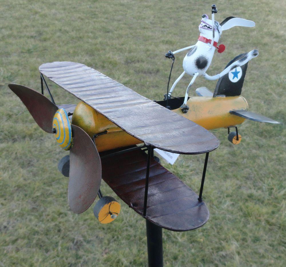 Aviator Spike Whirligig Airplane Dog Wind Powered Spinner