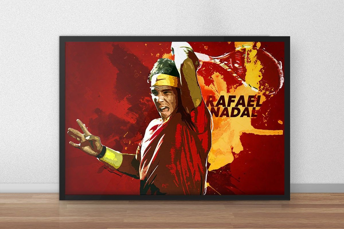 Rafael Nadal Tennis Tennis Gifts Tennis Decor Tennis Art Sports Decor Sports Gifts Roger Federer Djoko In 2020 Sports Art Print Tennis Art Nadal Tennis
