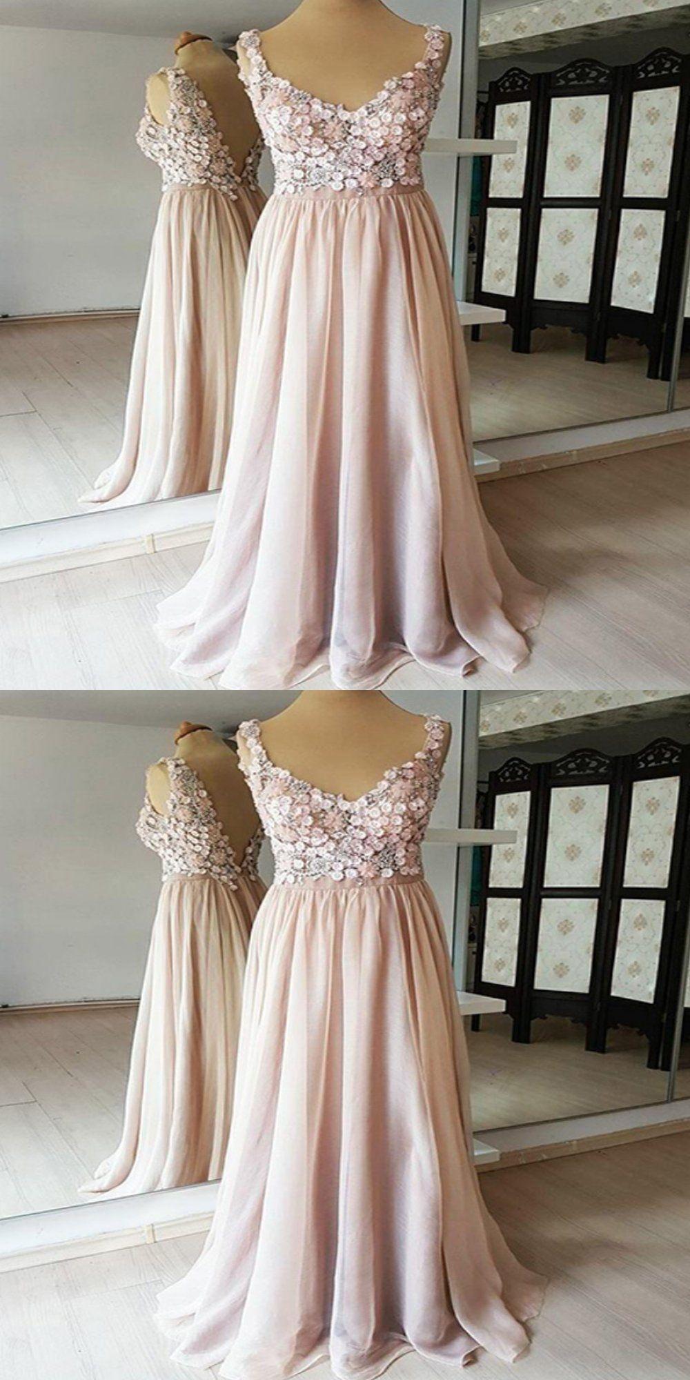 28bffd73e88 A-Line V-Neck Sleeveless Chiffon Long Prom Dresses With Appliques ...
