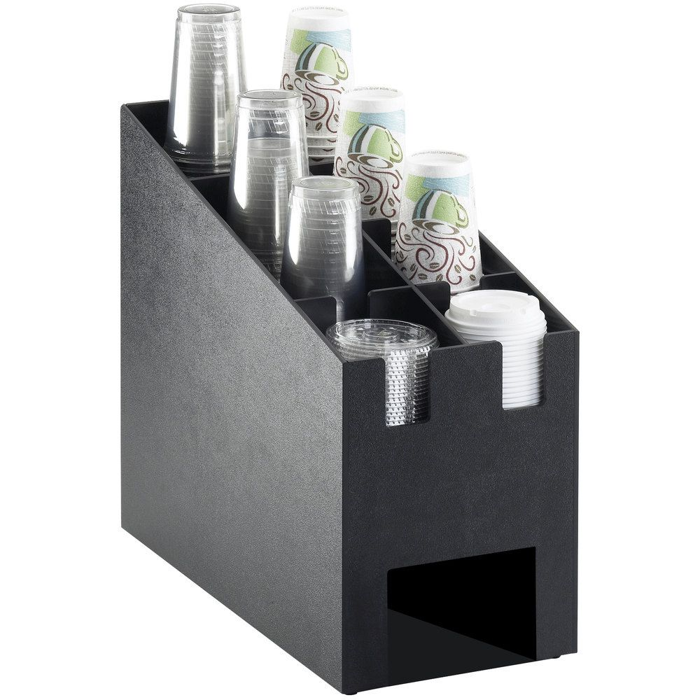 Cal Mil 2045 Classic Black Countertop Cup And Lid Organizer