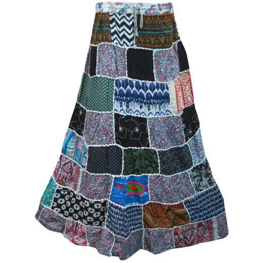 Mogulinterior Boho Gypsy Skirt-Vintage Patchwork Long Hippie Crinkle Broomstick Womens Skirts
