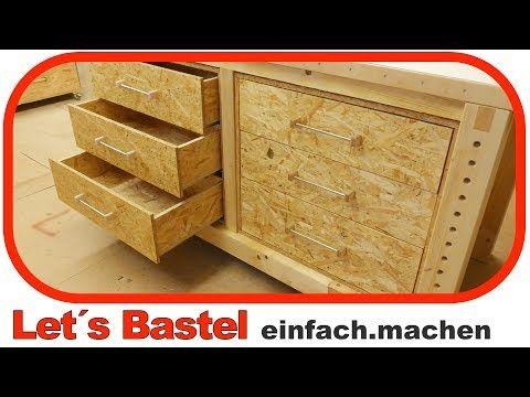 1 2 unterschrank f r werkbank mit schubladen selber bauen youtube werkbank diy pinterest. Black Bedroom Furniture Sets. Home Design Ideas
