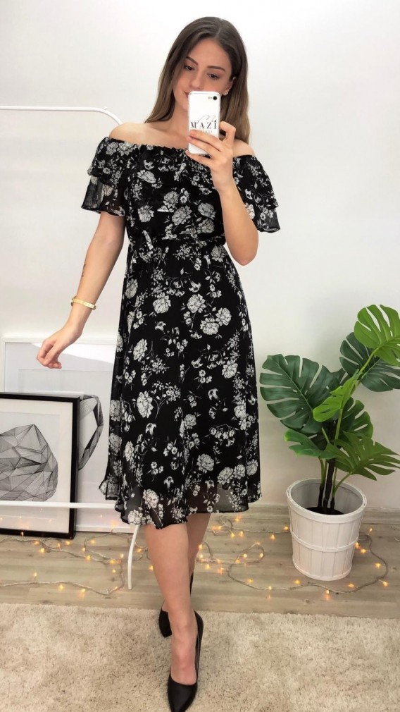 Katli Madonna Yaka Midi Elbise Cicekli Siyah Midi Elbise Elbise Sifon Elbise