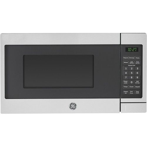 Ge 0 7 Cu Ft Compact Microwave Stainless Steel Jes1072shss Countertop Microwave Oven Countertop Microwave Stainless Steel Microwave