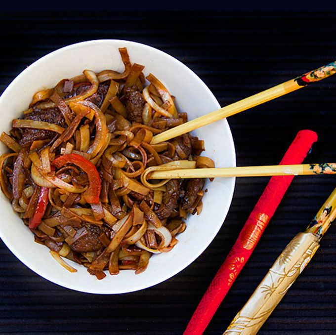 chinese fun noodles with beef  recipe  asian recipes