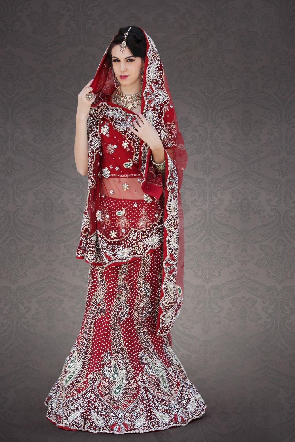 $655.34 Maroon Net Indian Bridal Lehenga 23252 | Bridal ...