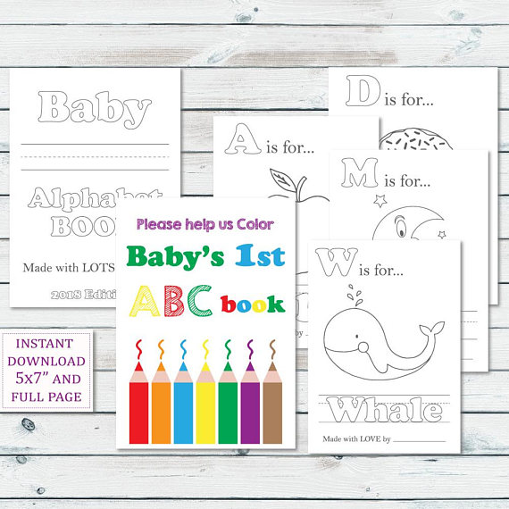 Alphabet Book Baby Shower Game Printable Baby Alphabet Book Coloring Pages Baby S First Alphabet Book Keepsake Storybook Baby Shower Storybook Baby Shower Alphabet Book Coloring Books