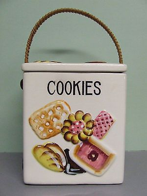 RARE/HTF Vintage Large Square Cookies All Over Cookie Jar (ESD/Japan/YH4330)
