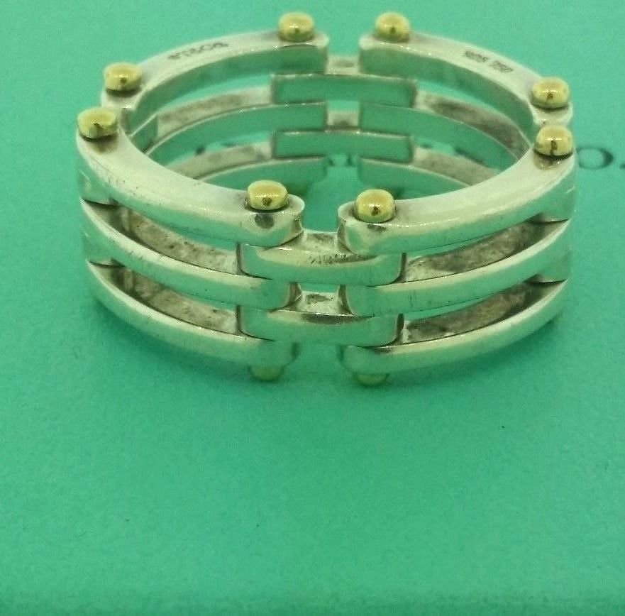 5efd5a315 Tiffany & Co Sterling Silver & 18k Gold Gate Link Ring Band 925/750 Ring  Size 10 #TiffanyCo #Gatelink