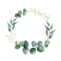 Photo of Watercolor vector frame with green eucalyptus leaves, Jasmine flowers and branches. – kaufen Sie diese Vektorgrafik und finden Sie ähnliche Vektorgrafiken auf Adobe Stock
