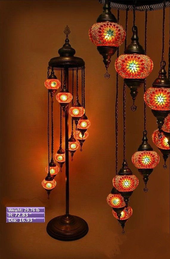 9 Ball 110 230v TURKISH MOROCCAN HANGING GLASS MOSAIC FLOOR LAMP