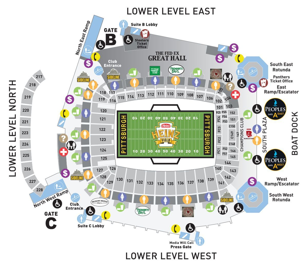 View The Heinz Field Seating Charts And Stadium Diagrams To Choose The Best Seat Or Plan Where You Will Get Your Food And Drin Heinz Field Seating Charts Heinz