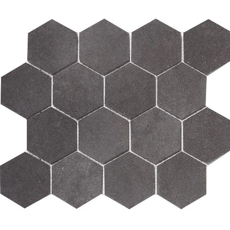 mosaic tile in basement parvatile lava hexagon 3 x 3 stone mosaic tile in black honed