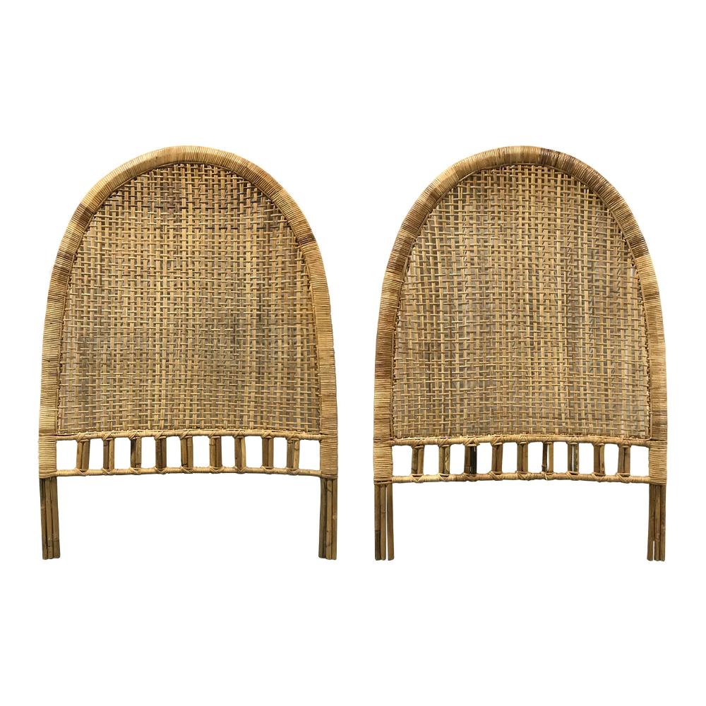 Vintage Rattan Arch Shaped Twin Headboards Chairish Headboard Rattan Headboard Twin Headboard