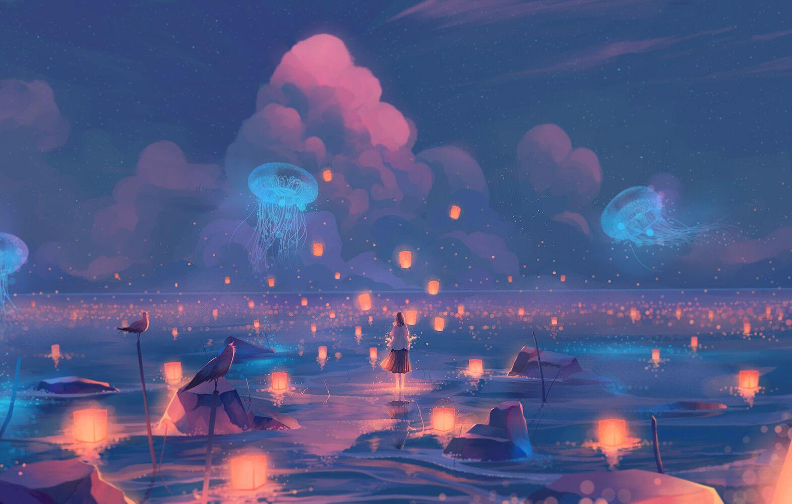 Stars In The Corner Morncolour In 2020 Anime Backgrounds Wallpapers Scenery Wallpaper Aesthetic Desktop Wallpaper